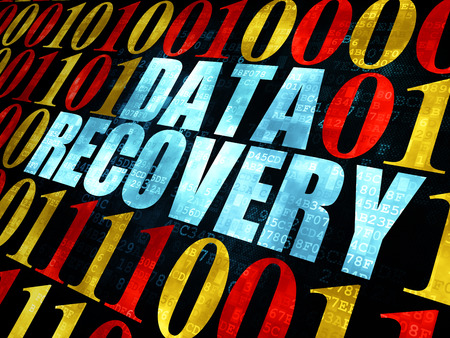 data recovery: Information concept: Pixelated blue text Data Recovery on Digital wall background with Binary Code