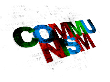 communism: Politics concept: Pixelated multicolor text Communism on Digital background Stock Photo