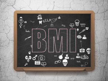bmi: Medicine concept: Chalk Pink text BMI on School Board background with Scheme Of Hand Drawn Medicine Icons