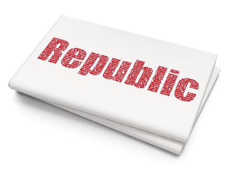 urgent announcement: Political concept: Pixelated red text Republic on Blank Newspaper background
