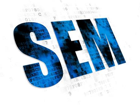 sem: Marketing concept: Pixelated blue text SEM on Digital background Stock Photo