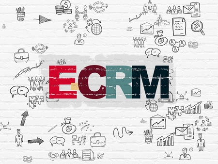 ecrm: Business concept: Painted multicolor text E-CRM on White Brick wall background with Scheme Of Hand Drawn Business Icons