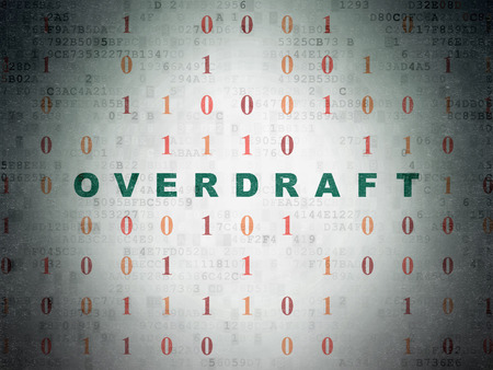 overdraft: Finance concept: Painted green text Overdraft on Digital Paper background with Binary Code Stock Photo