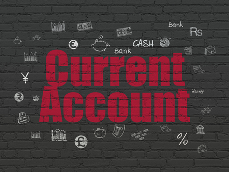 current account: Banking concept: Painted red text Current Account on Black Brick wall background with  Hand Drawn Finance Icons