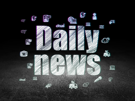 daily room: News concept: Glowing text Daily News,  Hand Drawn News Icons in grunge dark room with Dirty Floor, black background