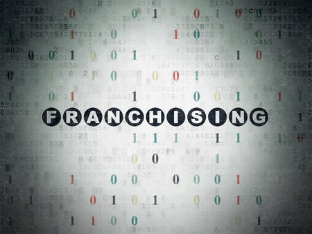 franchising: Finance concept: Painted black text Franchising on Digital Paper background with Binary Code