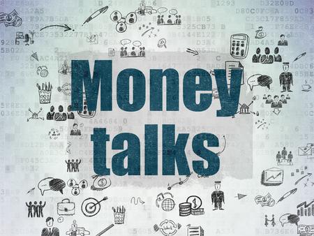 conversaciones: Concepto de negocio: Pintado de texto azules Money Talks sobre fondo de papel digital con Esquema De La Mano Drawn iconos de negocios