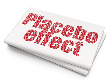 placebo: Medicine concept: Pixelated red text Placebo Effect on Blank Newspaper background