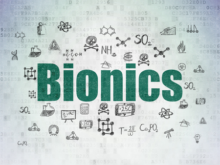 bionics: Science concept: Painted green text Bionics on Digital Paper background with  Hand Drawn Science Icons