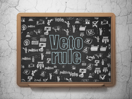 veto: Political concept: Chalk Blue text Veto Rule on School Board background with  Hand Drawn Politics Icons Stock Photo