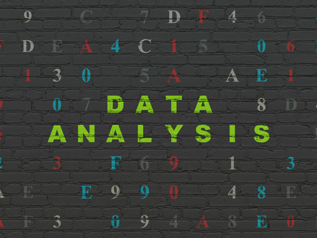 hexadecimal: Data concept: Painted green text Data Analysis on Black Brick wall background with Hexadecimal Code