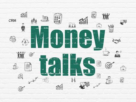 conversaciones: Concepto de las finanzas: Pintado verdes Money Talks texto sobre fondo blanco de la pared de ladrillo con dibujado a mano iconos de negocios Foto de archivo
