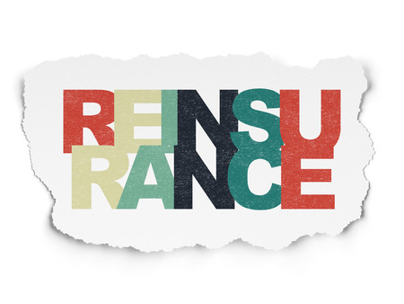 reinsurance: Insurance concept: Painted multicolor text Reinsurance on Torn Paper background