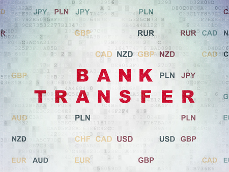 bank overschrijving: Banking concept: Painted red text Bank Transfer on Digital Paper background with Currency