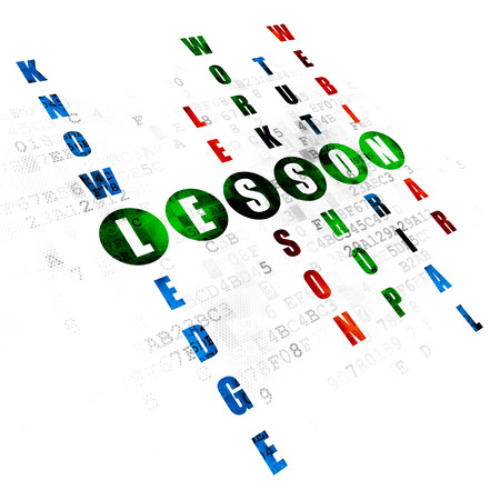 word lesson: Studying concept: Pixelated green word Lesson in solving Crossword Puzzle on Digital background