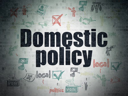 domestic policy: Political concept: Painted black text Domestic Policy on Digital Paper background with  Scheme Of Hand Drawn Politics Icons Stock Photo