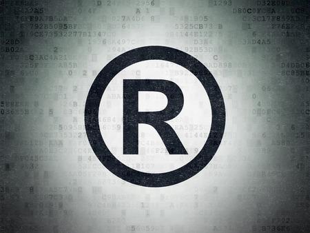 r regulation: Law concept: Painted black Registered icon on Digital Paper background