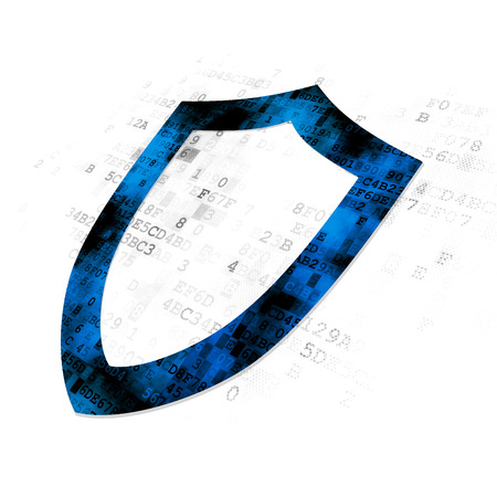 Protection concept: Pixelated blue Contoured Shield icon on Digital background Stockfoto