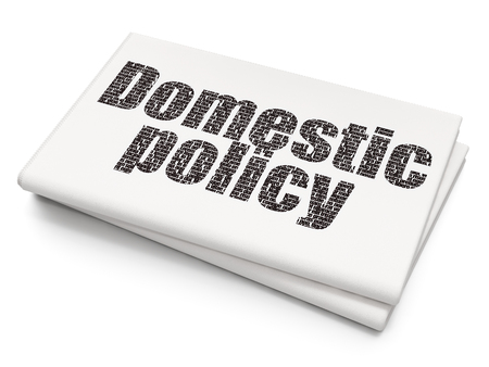 domestic policy: Political concept: Pixelated black text Domestic Policy on Blank Newspaper background Stock Photo