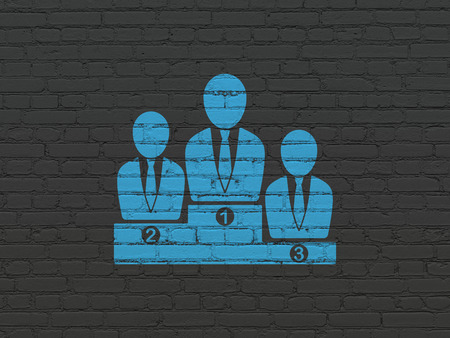 building backgrounds: Finance concept: Painted blue Business Team icon on Black Brick wall background Stock Photo