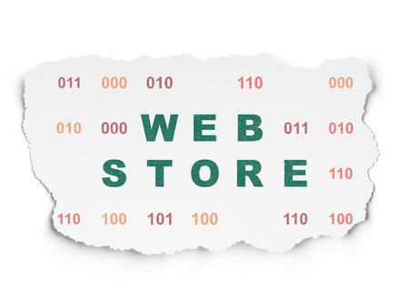 web store: Web development concept: Painted green text Web Store on Torn Paper background with  Binary Code