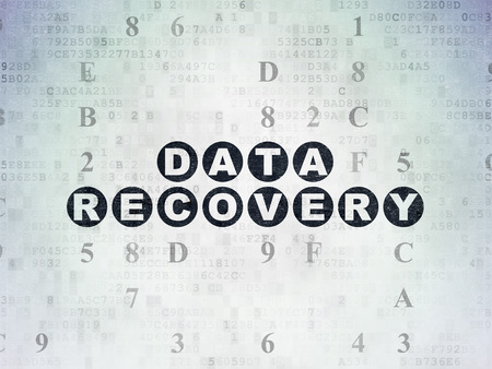 data recovery: Data concept: Painted black text Data Recovery on Digital Paper background with Hexadecimal Code