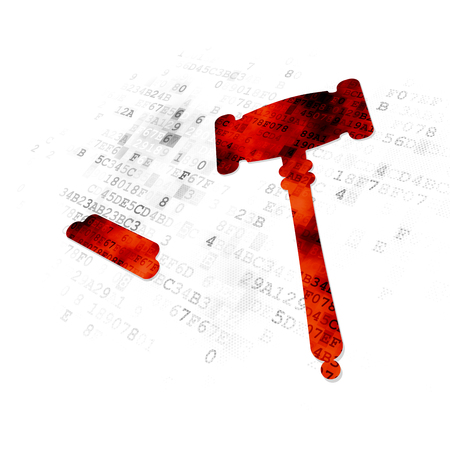 computer law: Law concept: Pixelated red Gavel icon on Digital background