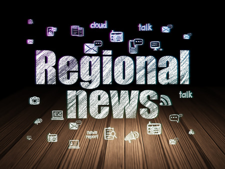 urgent announcement: News concept: Glowing text Regional News,  Hand Drawn News Icons in grunge dark room with Wooden Floor, black background