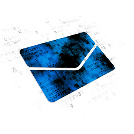 pixelated: Finance concept: Pixelated blue Email icon on Digital background