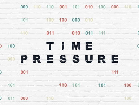 time pressure: Time concept: Painted black text Time Pressure on White Brick wall background with Binary Code