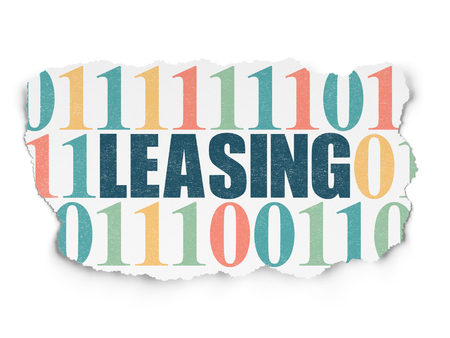 leasing: Finance concept: Painted blue text Leasing on Torn Paper background with  Binary Code Stock Photo