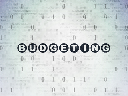 budgeting: Business concept: Painted black text Budgeting on Digital Paper background with Binary Code Stock Photo