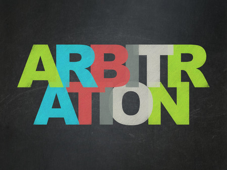 arbitration: Law concept: Painted multicolor text Arbitration on School Board background Stock Photo