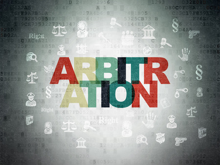 arbitration: Law concept: Painted multicolor text Arbitration on Digital Paper background with  Hand Drawn Law Icons