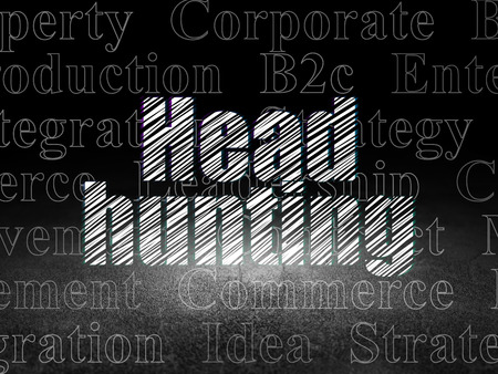 head tag: Business concept: Glowing text Head Hunting in grunge dark room with Dirty Floor, black background with  Tag Cloud