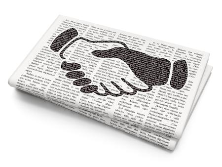 black handshake: Politics concept: Pixelated black Handshake icon on Newspaper background Stock Photo