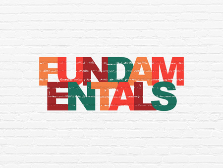 fundamentals: Science concept: Painted multicolor text Fundamentals on White Brick wall background
