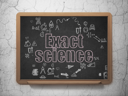 exact science: Science concept: Chalk Pink text Exact Science on School Board background with Scheme Of Hand Drawn Science Icons Stock Photo
