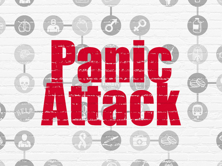 panic attack: Medicine concept: Painted red text Panic Attack on White Brick wall background with Scheme Of Hand Drawn Medicine Icons