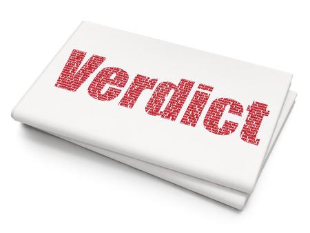 verdict: Law concept: Pixelated red text Verdict on Blank Newspaper background Stock Photo
