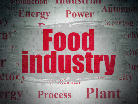 food industry: Industry concept: Painted red text Food Industry on Digital Paper background with   Tag Cloud