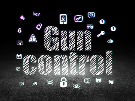 gun room: Privacy concept: Glowing text Gun Control,  Hand Drawn Security Icons in grunge dark room with Dirty Floor, black background