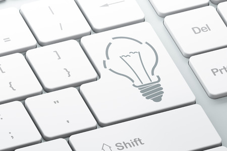 broken strategy: Finance concept: Enter button with Light Bulb on computer keyboard background, 3d render