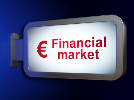 financial market: Banking concept: Financial Market and Euro on advertising billboard background, 3d render
