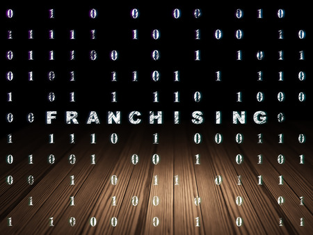 franchising: Business concept: Glowing text Franchising in grunge dark room with Wooden Floor, black background with Binary Code