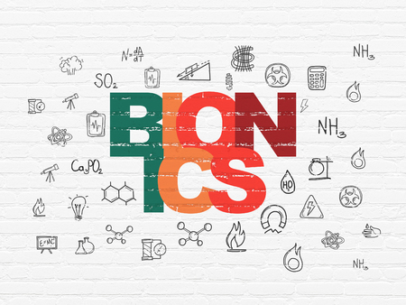 bionics: Science concept: Painted multicolor text Bionics on White Brick wall background with  Hand Drawn Science Icons