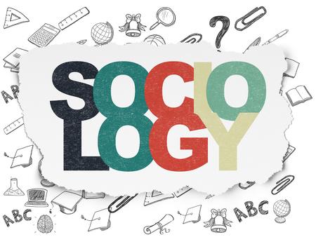 sociology: Aprendizaje de concepto: Pintadas multicolor texto Sociología en el fondo de papel rasgado con el dibujado a mano Iconos Educación Foto de archivo