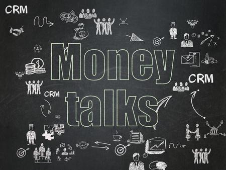 conversaciones: Concepto de negocio: Tiza texto verde Money Talks en el fondo de la Junta Escolar con el Esquema de dibujado a mano iconos de negocios