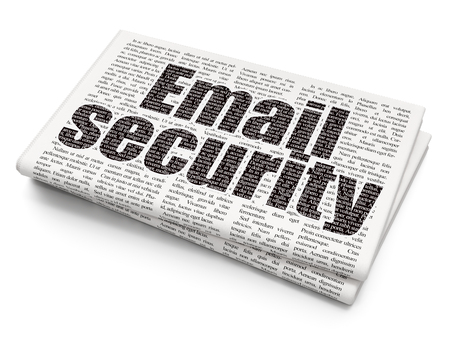 email security: Protection concept: Pixelated black text Email Security on Newspaper background