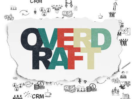 overdraft: Business concept: Painted multicolor text Overdraft on Torn Paper background with Scheme Of Hand Drawn Business Icons Stock Photo
